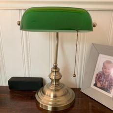 lampshade, glassbankerlampcover, greenglassshadelampshade, glassbankerlamp