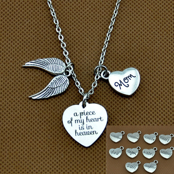 heaven necklace in memory of mom dad angel wing necklace Memorial necklace a piece of my heart is in heaven necklace memorial gift