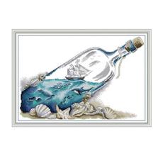 diy, Canvas, Bottle, printedcrossstitchkit