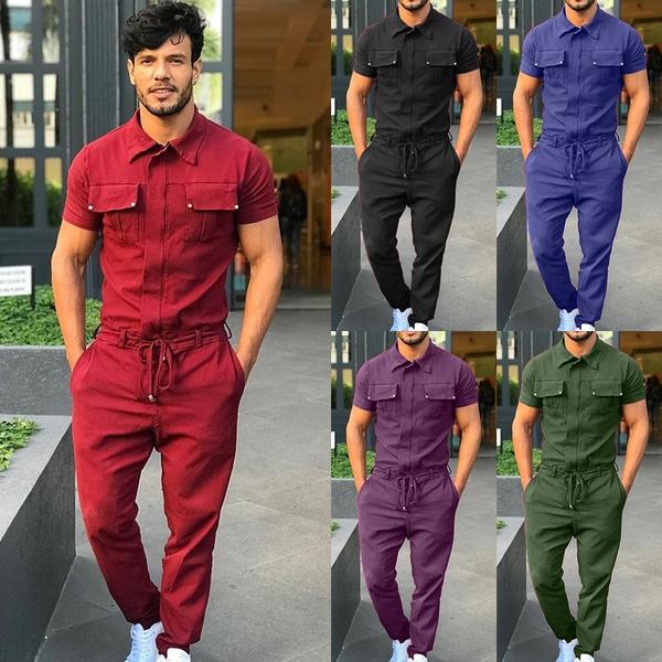 Turn-down Collar, Plus Size, beltoverall, Men