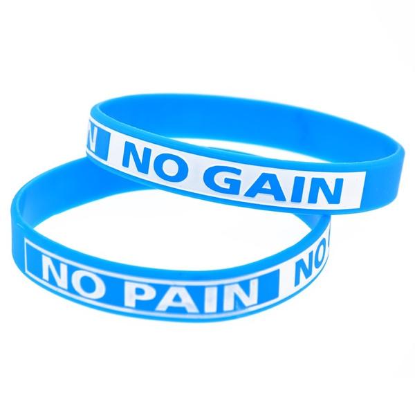 NO PAIN NO GAINS Debossed Motivational Wristband