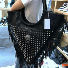 women bags, Bolsos al hombro, Tassels, skull