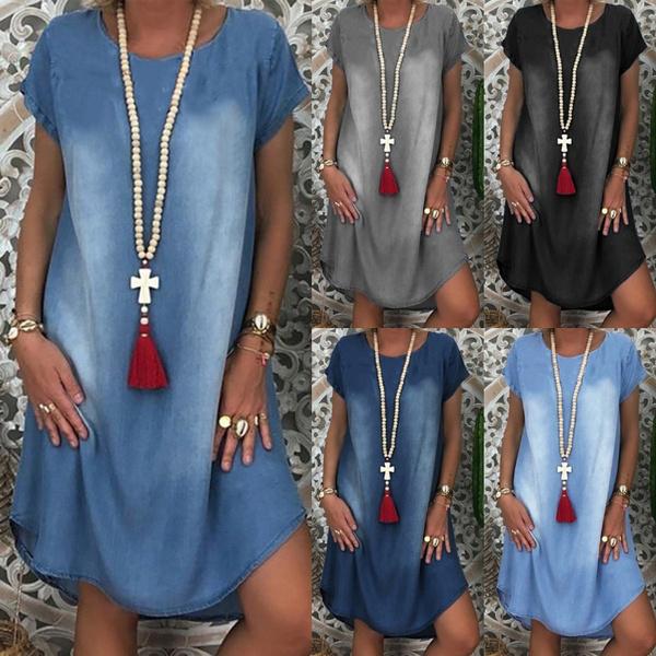 denim dress, Summer, Plus Size, Sleeve
