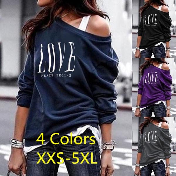 Shoulder, ladiestshirt, letter print, Sleeve