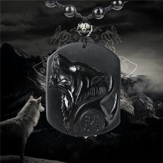Head, Men, Jewelry, obsidianpendant