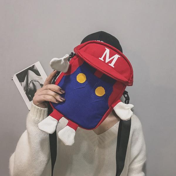 koreanministudentbag, mariocanvascrossbodybag, casualcrossbodybag, phone bags & cases