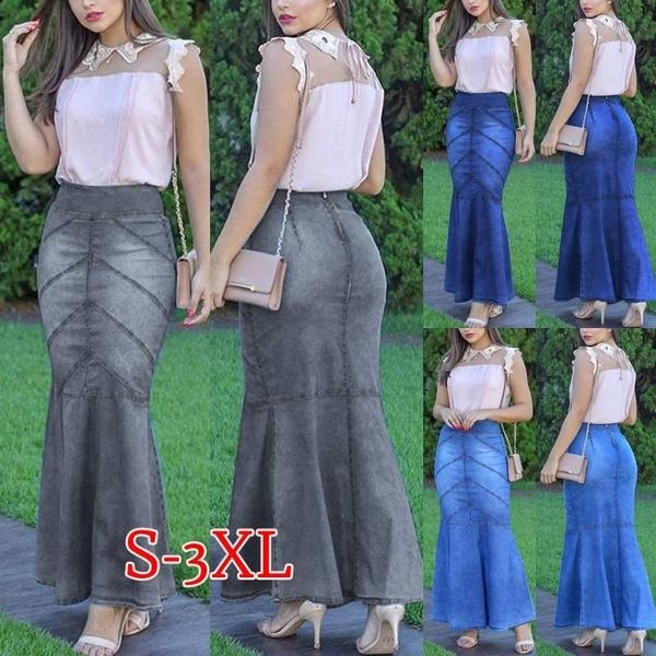 Fashion Skirts, long skirt, Plus Size, Waist