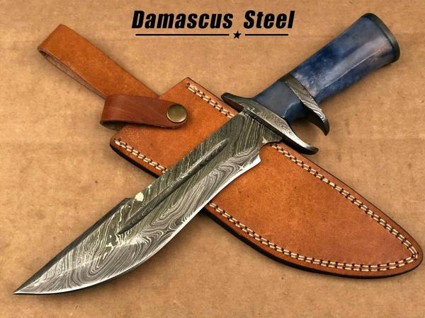 Steel, Hunting, bowie, damascu