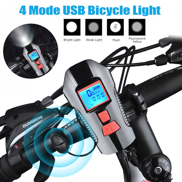 Waterproof Bicycle Light USB Charging Bike Head Light Flashlight Speed Meter LCD