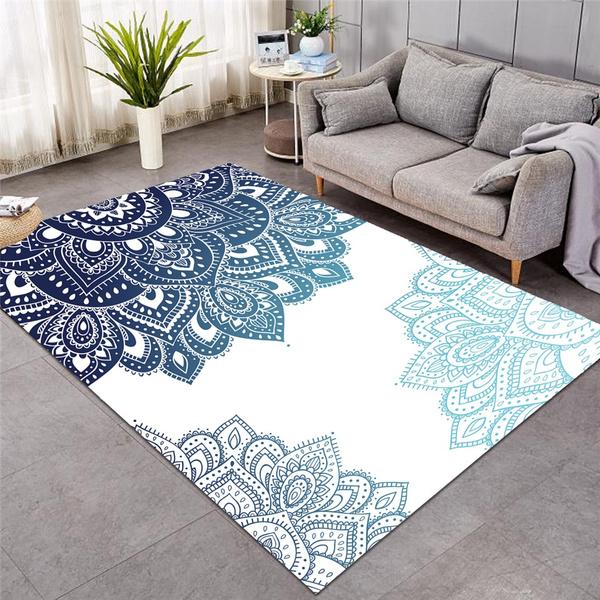 Fashion Mandala Carpet 3D Printed Living Room Bohemian Rectangular Area  Carpet Ethnic Flower Floor Mat Flower Kaleidoscope Carpet   Wish