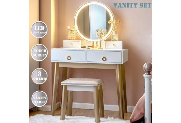 Touch Screen Dimming Mirror, Black Vanity Set With Lighted Mirror And Stool