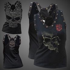 Plus Size, Skeleton, summer t-shirts, Halloween