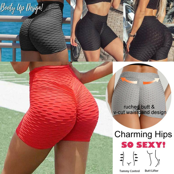 CHOSERL Women High Waist Butt Lift Yoga Shorts Ruched Booty Gym Shorts Slim Hot Pants with Side Drawstring