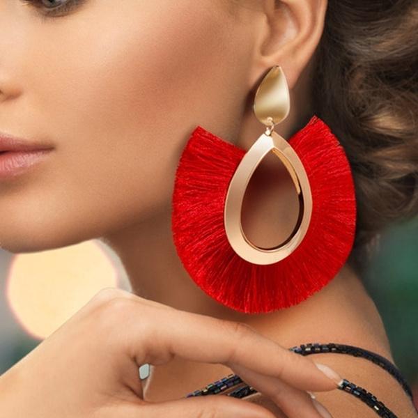 boho, tasseldropearring, Hoop Earring, Jewelry