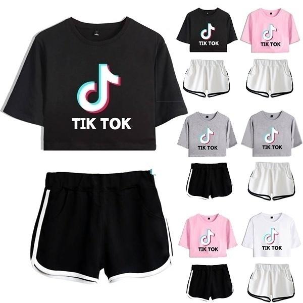 2pieceset, Shorts, crop top, Sleeve
