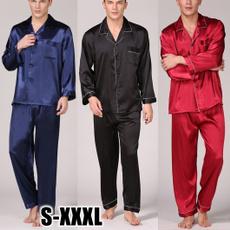 pajamaset, silk, Summer, menpajama