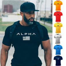 Outdoor, letter print, Fitness, muscleshirt
