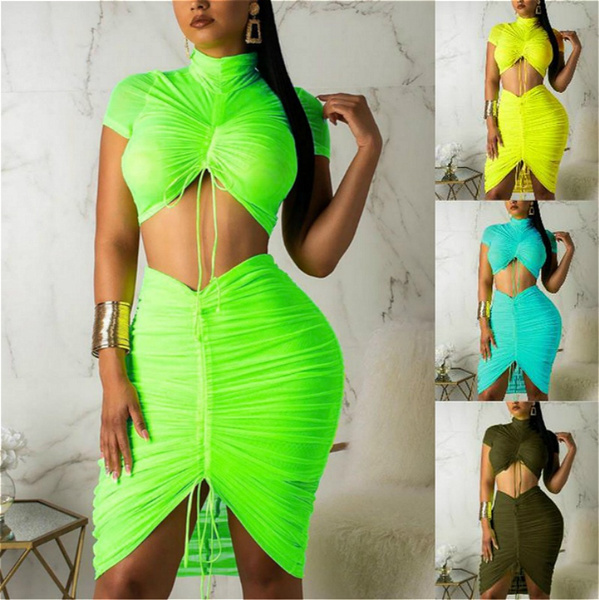 Summer, Two-Piece Suits, pleated dress, Evening Dress
