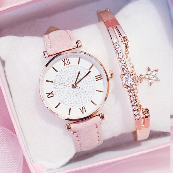 Fashion, Casual Watches, Chain, leather strap