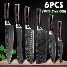 Steel, Kitchen & Dining, chefknivesset, damascusknife