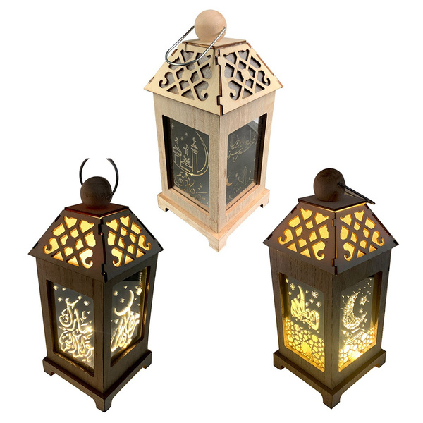Wood Ramadan Palace Lamp LED Eid Mubarak Decorative Lights Hanging Lantern Decor