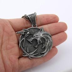 Head, wolfheadpendant, punk necklace, Jewelry