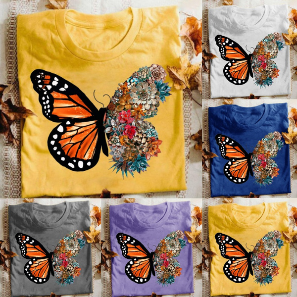 butterfly, Summer, Plus Size, printed shirts
