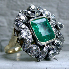 emeralddiamondring, yellow gold, Fashion, 14ktyellowgoldfilled