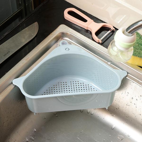 Triangle Shape Drain Rack Kitchen Sink Storage Rack Suction Cup Washing Bowl Sponge Holder Bathroom Corner Kitchen Organizer Wish