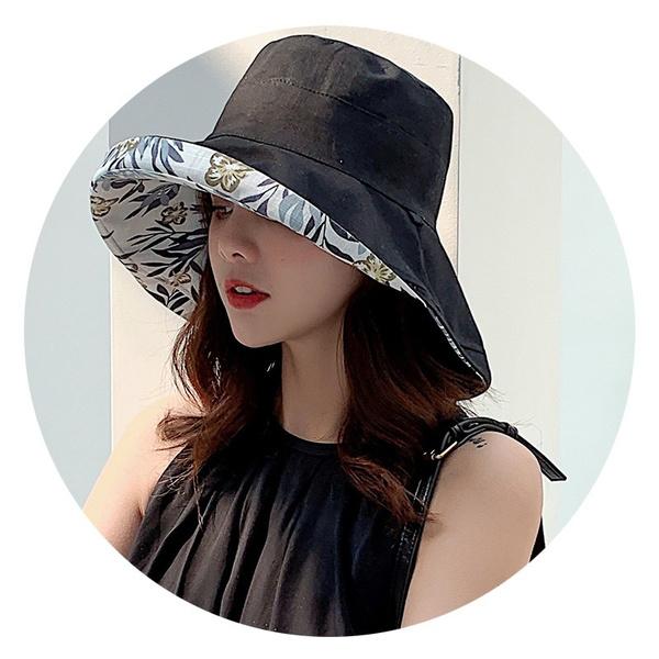 fashionladiessummerhat, Fashion, Beach hat, doublesidedfishermanhat