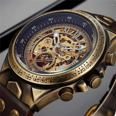 Leather Strap Watches, Skeleton, Clock, leather