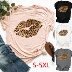 Tops & Tees, Plus Size, Leopard, short sleeves
