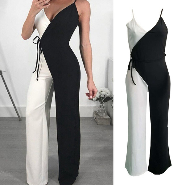 Summer, fashion women, Fashion, blackandwhitejumpsuit