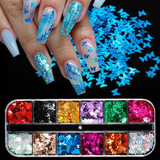 butterfly, nail decoration, Holographic, art
