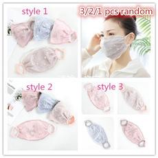 Summer, dustproofmask, Floral print, Lace