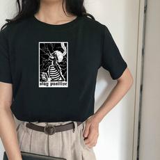 Korea fashion, Funny T Shirt, Skeleton, Harajuku