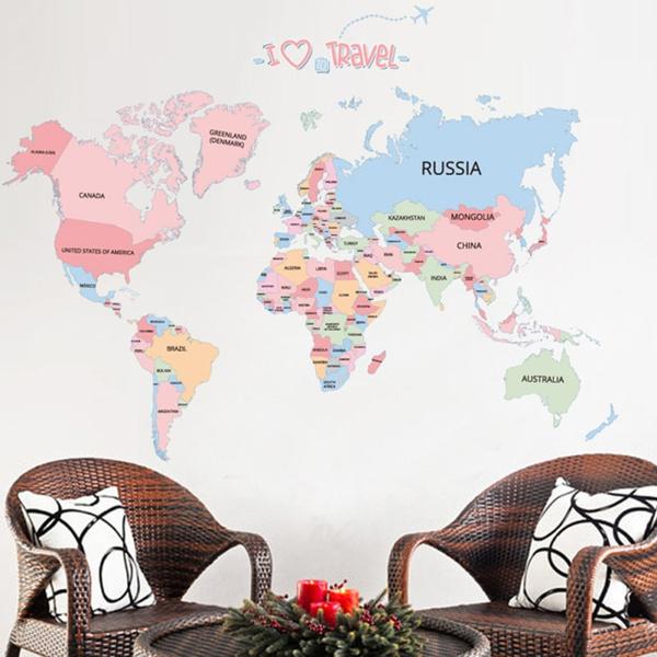 englishlettermapsticker, Colorful, homebedroomdecor, walldecoration