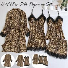 Plus Size, Lace, leopard print, satinpajama