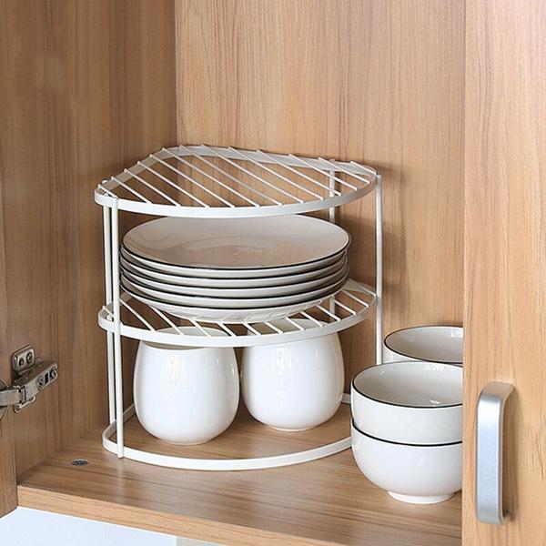 Plate Storage Rack Cupboard White, Plate Storage Rack