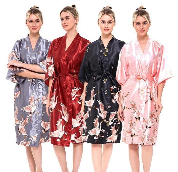 sexynightdre, womenbathrobe, silkkimono, satinnightgown