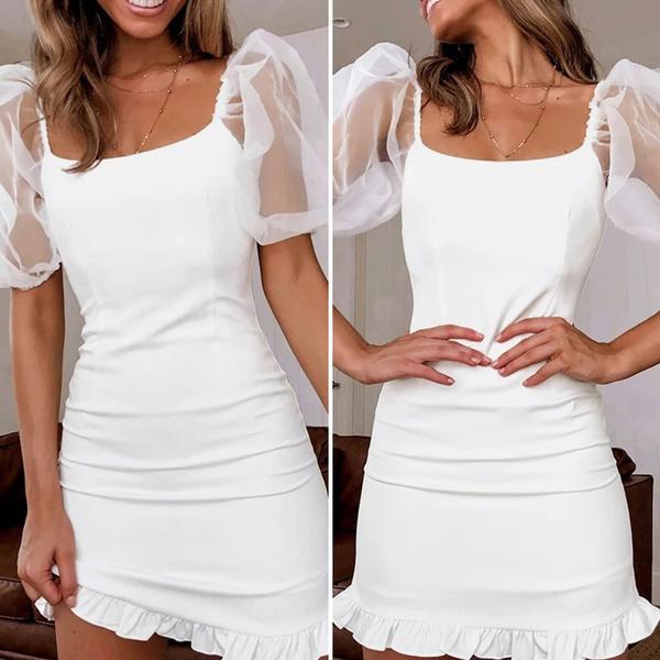 Mini, short sleeve dress, meshsleevedres, Dress