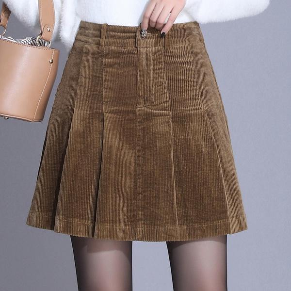 Mini skirts loose Women Autumn Winter High Waist Corduroy Pleated Skirts Office Lady Elegant Loose Casual Plus Size Mini Skirt 4xl Wish