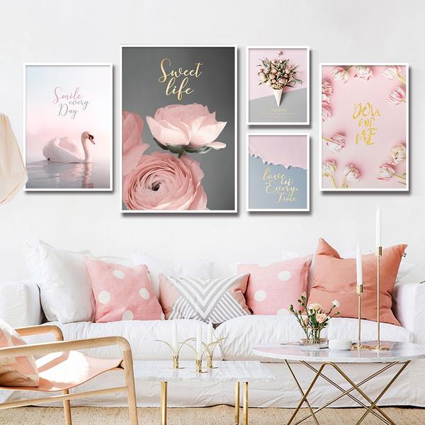 pink, canvasart, Flowers, Wall Art