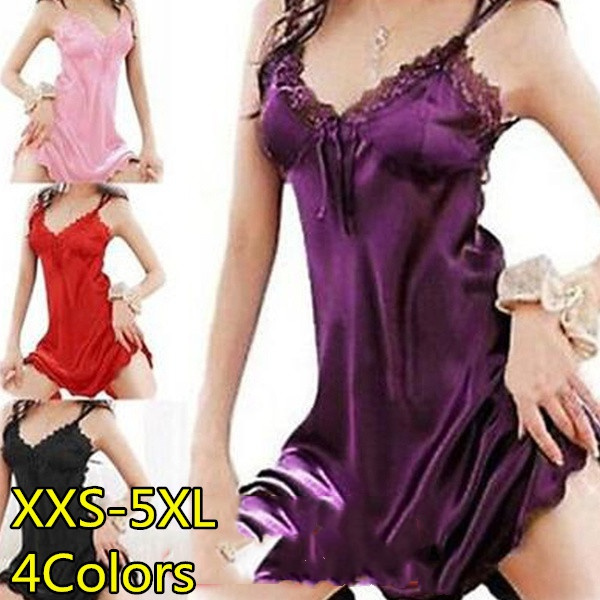 silksatinnightgown, Lace, Dress, Women's Fashion