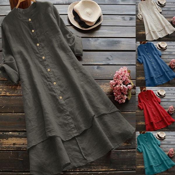 blouse, Women, longshirttop, Cotton