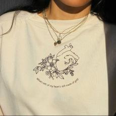 Heart, Flowers, Cotton, kawaiitshirt