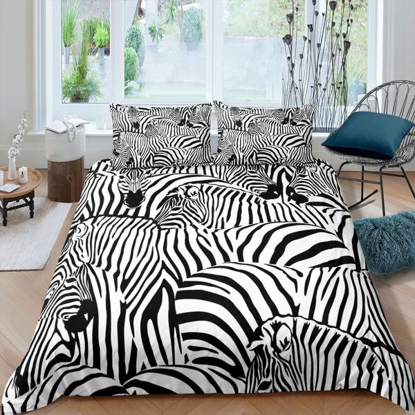 Zebra Duvet Cover For Kids Teens, Black And White Striped Bedding Queen