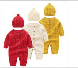 newbornwinterclothesforgirl, knittedsweaterrompersromper, Fashion, babywarmknittedsweaterromperjumpsuit
