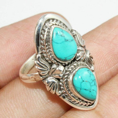 Antique, Sterling, Turquoise, 925 silver rings
