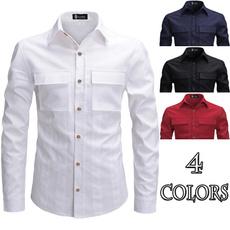 slim, long sleeve blouse, Shirt, solidcolorshirt